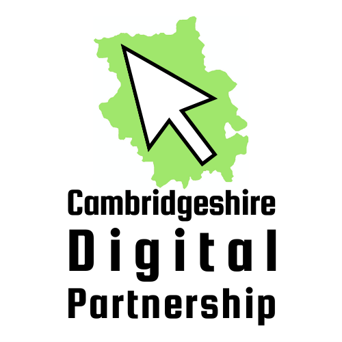 Cambridgeshire Digital Partnership logo White computer mouse over green background with 'Cambridgeshire Digital Partnership' written underneath
