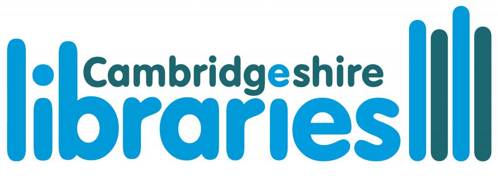 Cambridgeshire Libraries logo Font is blue