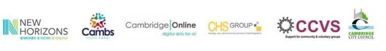Logos of founding partners New Horizons Cambs Youth Panel Cambridge Online CHS Group CCVS  Cambridge City Council